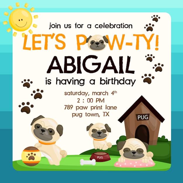 Invito di compleanno pug Vettore Premium