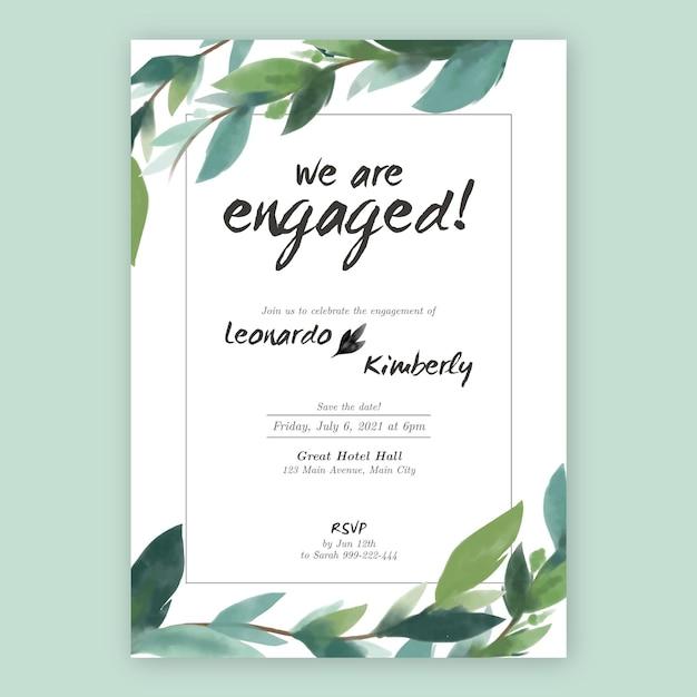 Invito di fidanzamento floreale con foglie Vettore gratuito