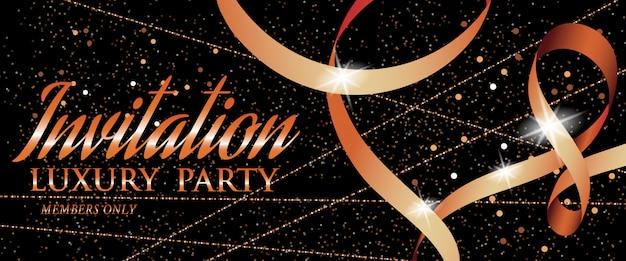 Invito di lusso festa banner con nastro e scintille Vettore gratuito