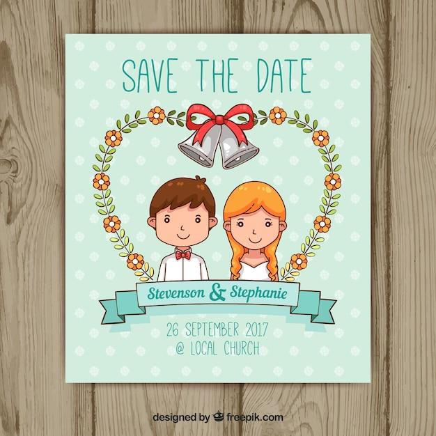 Invito di nozze disegnato a mano con felice coppia Vettore gratuito