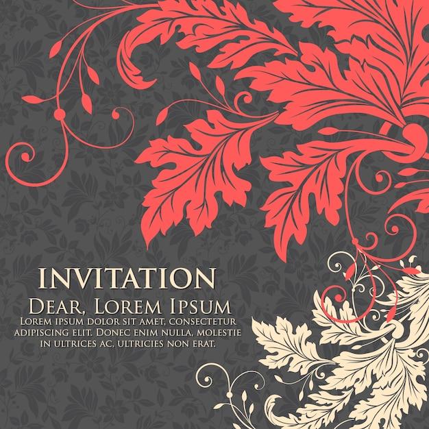 Invito di nozze e scheda di annuncio con illustrazione di sfondo floreale. elegante ornato sfondo floreale. priorità bassa floreale ed elementi eleganti del fiore. modello di progettazione. Vettore gratuito