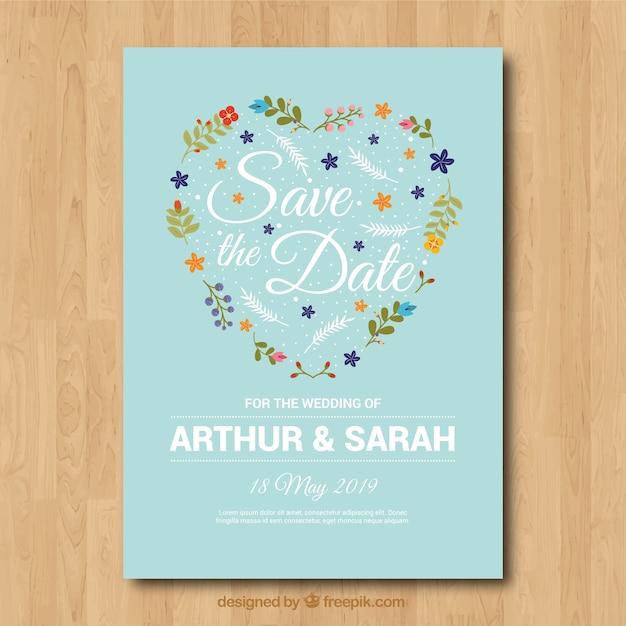 Invito di nozze incantevole con cuore floreale Vettore gratuito