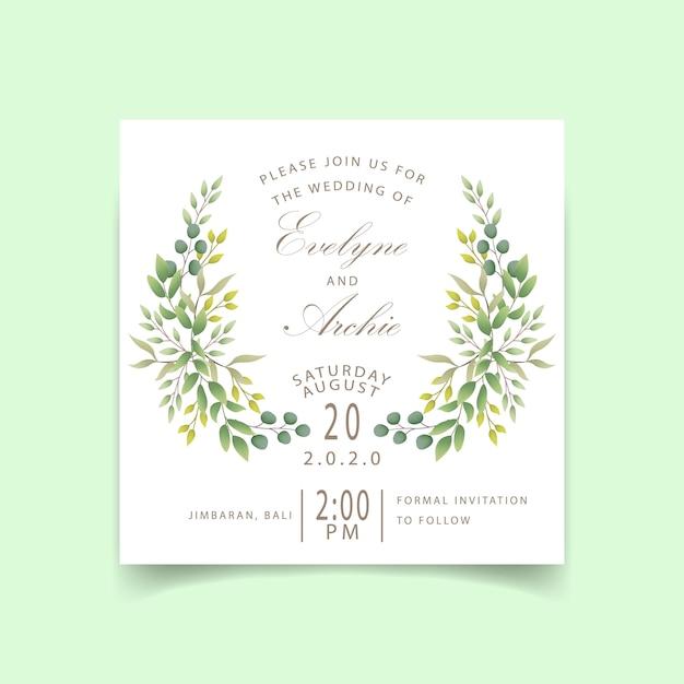 Invito di nozze verde Vettore Premium