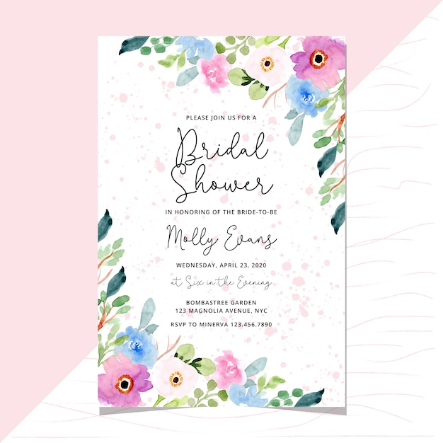 Invito doccia nuziale con bordo floreale dolce acquerello Vettore Premium