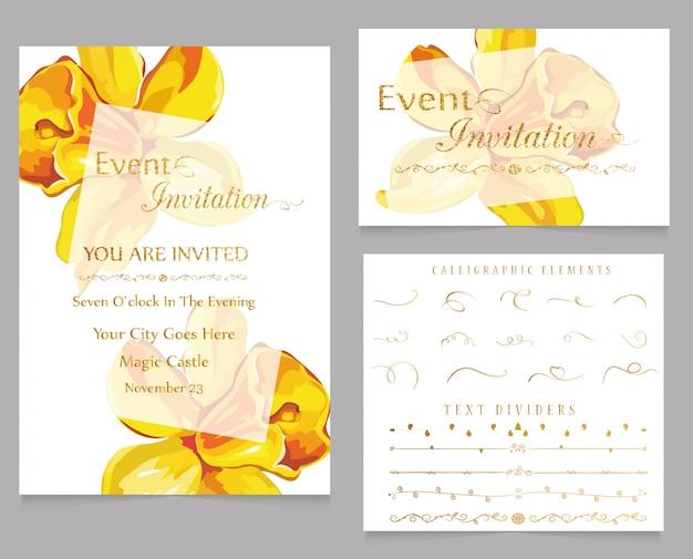 Invito evento e divisori di testo con elementi calligrafici Vettore Premium