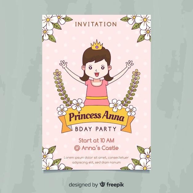 Invito festa carina principessa Vettore gratuito