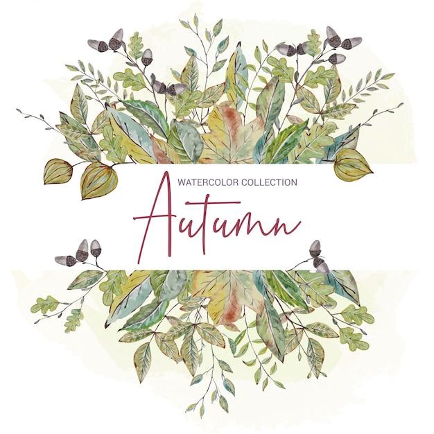 Invito floreale con foglie di autunno Vettore Premium