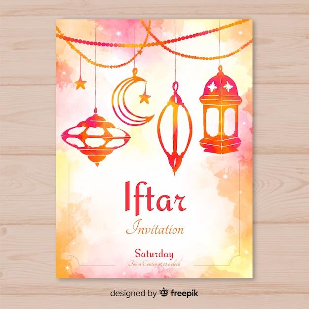 Invito iftar acquerello Vettore gratuito