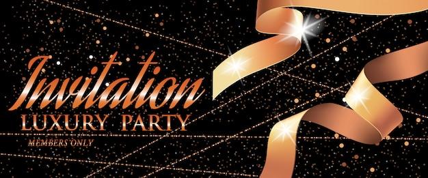 Invito luxury party vip card template con nastro e scintille Vettore gratuito
