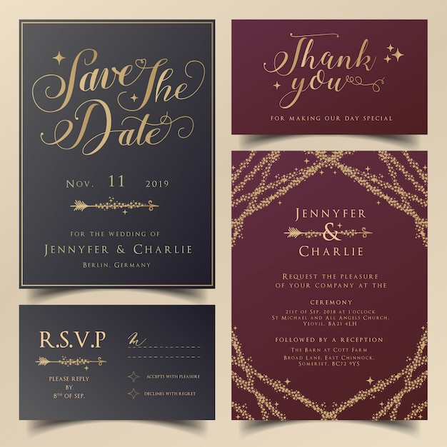 Invito modificabile bordeaux e blu navy per matrimoni moderni Vettore Premium
