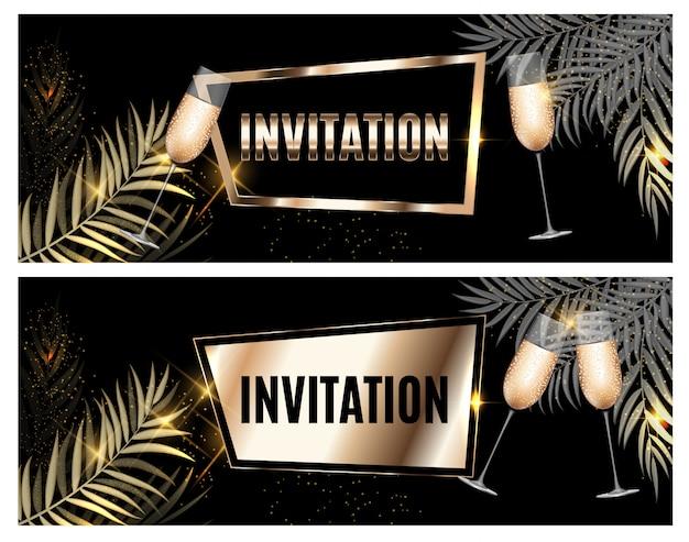 Invito ornato d'oro di lusso d'epoca con foglia di palma e bicchieri di champagne Vettore Premium