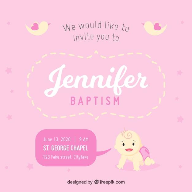 Invito Per Il Battesimo Colore Rosa Scaricare Vettori Gratis