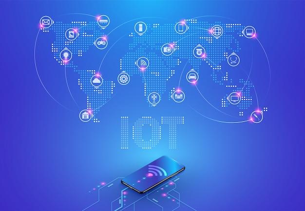 (iot) internet delle cose e connessione di rete Vettore Premium