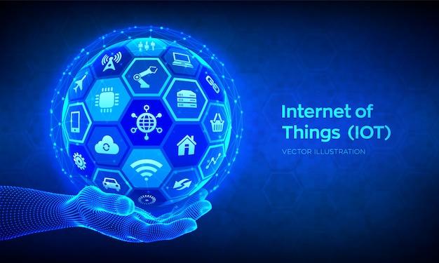 Iot. internet delle cose sullo sfondo Vettore Premium