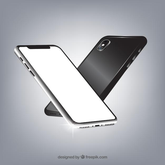 Iphone x con diverse viste in stile realistico Vettore gratuito