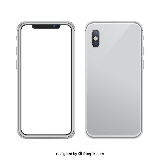 Iphone x con schermo bianco in stile realistico Vettore gratuito