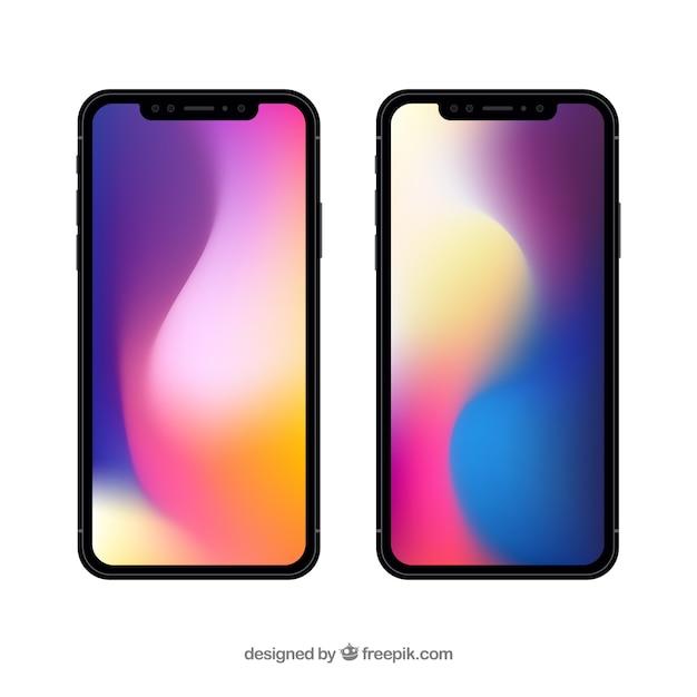 Iphone x con sfondo sfumato Vettore gratuito