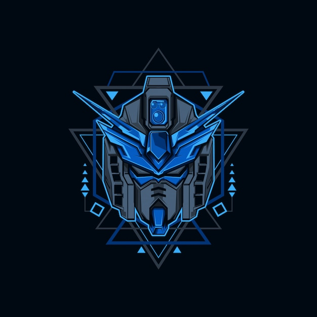 Iron blue robot illustration Vettore Premium