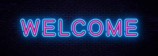 Iscrizione al neon di bello vettore benvenuta Vettore Premium