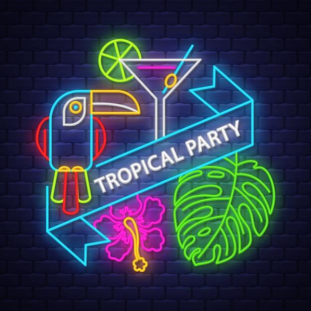 Iscrizione al neon di tropical party con elementi estivi Vettore Premium