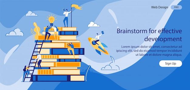 Iscrizione brainstorming per uno sviluppo efficace. Vettore Premium