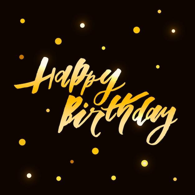 Iscrizione con frase buon compleanno. illustrazione. oro Vettore Premium