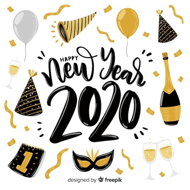 Iscrizione del buon anno 2020 Vettore gratuito