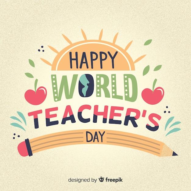 Iscrizione del giorno degli insegnanti del mondo felice Vettore gratuito