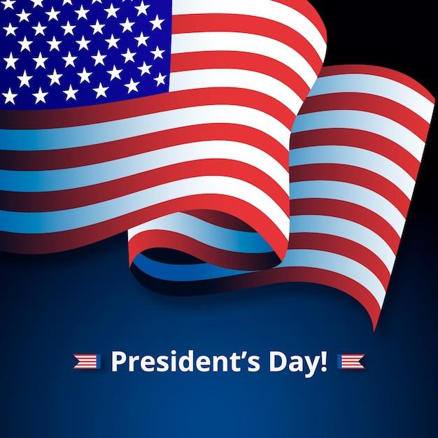 Iscrizione del giorno del presidente con la bandiera americana Vettore gratuito