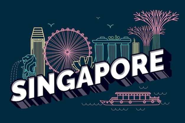 Iscrizione della città di singapore Vettore gratuito