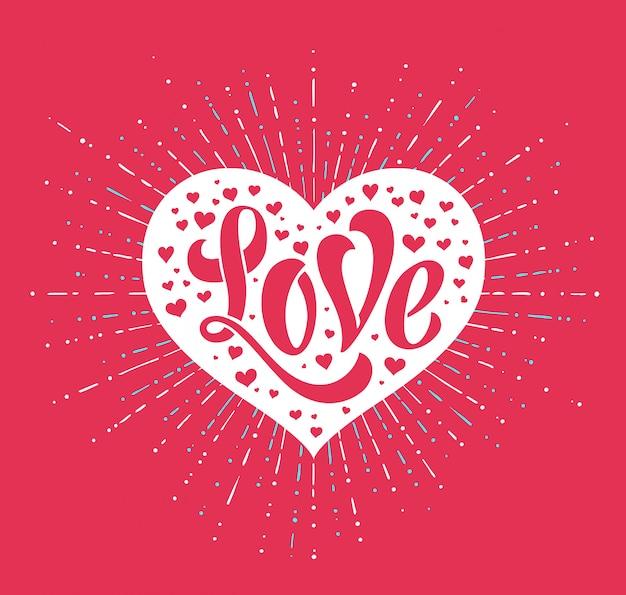 Iscrizione della mano amore nella cartolina d'auguri di cuore bianco. calligrafia a mano. illustrazione vettoriale Vettore Premium