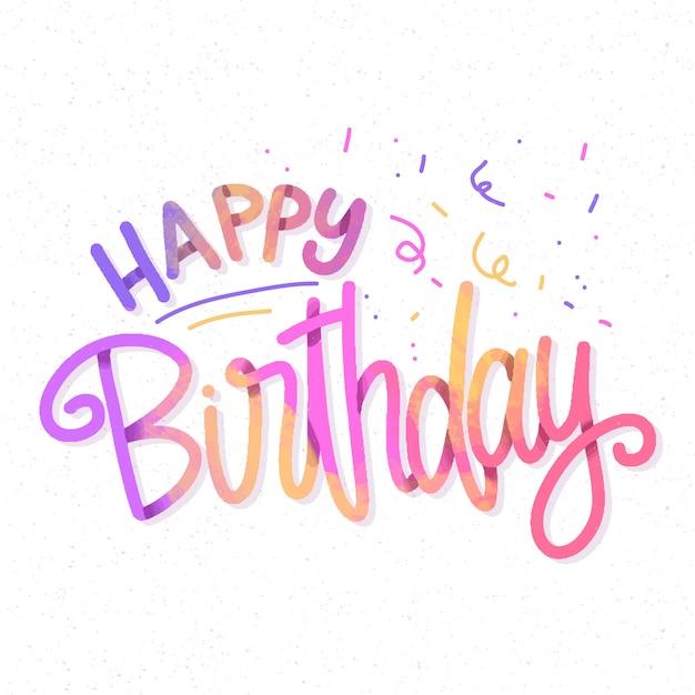 Iscrizione di buon compleanno colorato con coriandoli Vettore gratuito