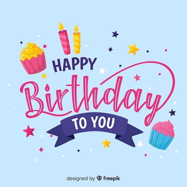 Iscrizione di buon compleanno con sfondo blu Vettore gratuito