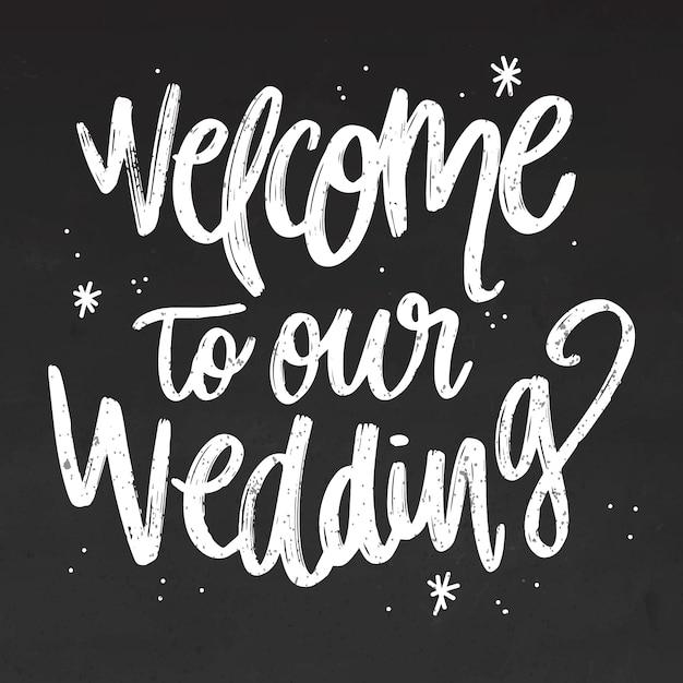 Iscrizione di gesso di nozze sulla lavagna Vettore gratuito
