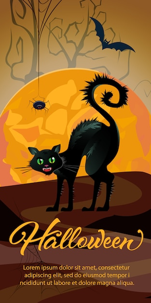 Iscrizione di halloween con luna arancia e strega gatto Vettore gratuito