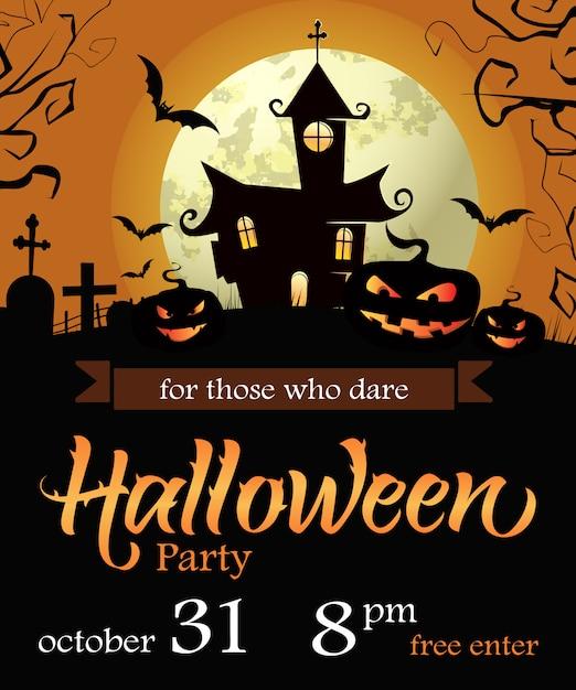 Data Di Halloween.Iscrizione Di Halloween Party Con Data Castello Zucche E Luna