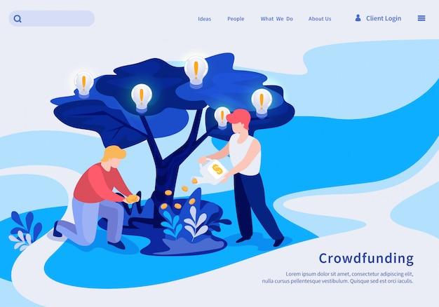 Iscrizione di illustrazione vettoriale crowdfunding. Vettore Premium