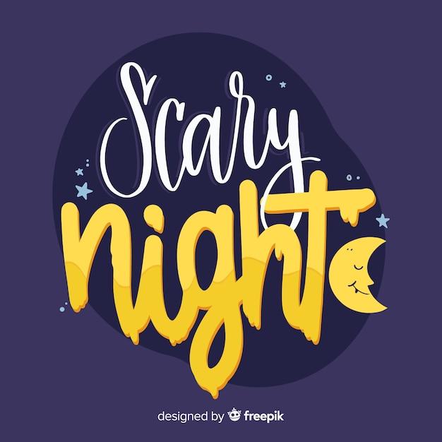 Iscrizione di notte spaventosa con luna addormentata Vettore gratuito