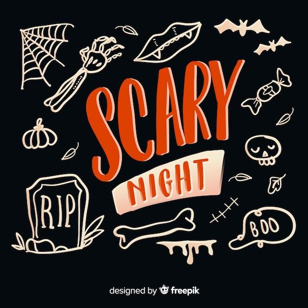 Iscrizione di notte spaventosa su sfondo nero Vettore gratuito