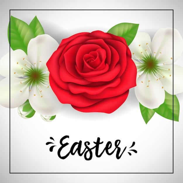 Iscrizione Di Pasqua Nel Telaio Con Rosa Rossa E Fiori Bianchi Su