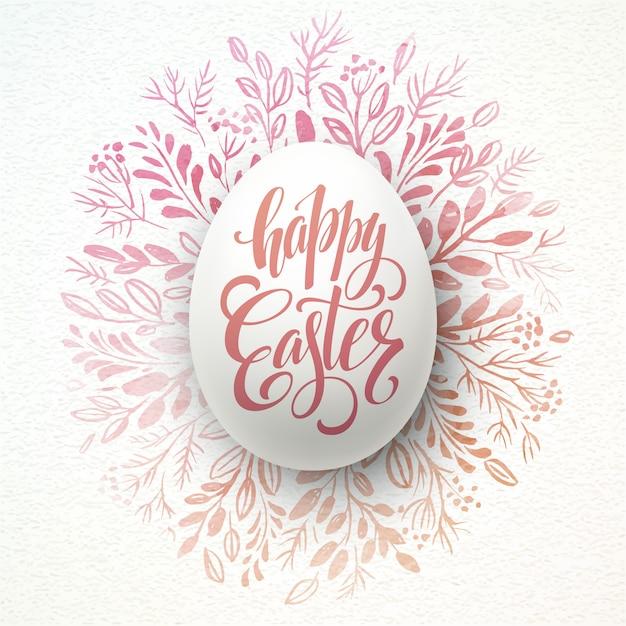 Iscrizione felice di pasqua sulla corona dell'acquerello con le uova Vettore Premium