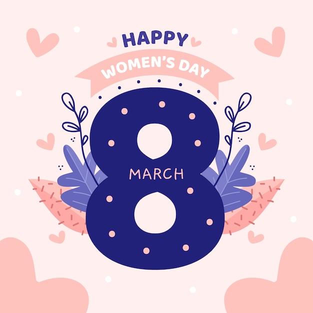 Iscrizione floreale del giorno delle donne sul fondo rosa Vettore gratuito