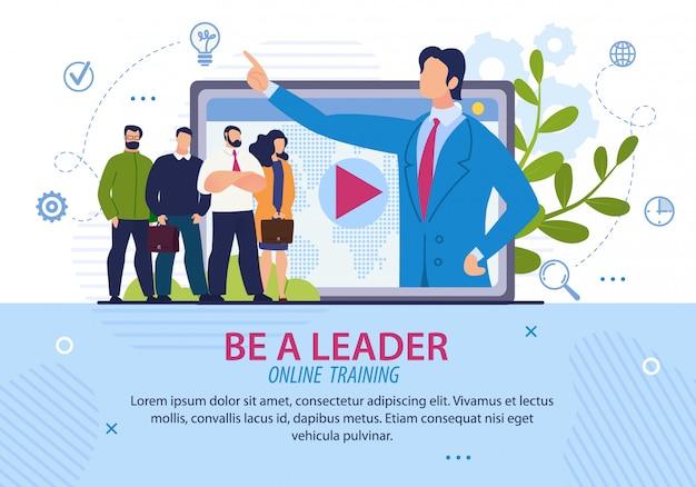 Iscrizione poster informativo per essere un leader. Vettore Premium