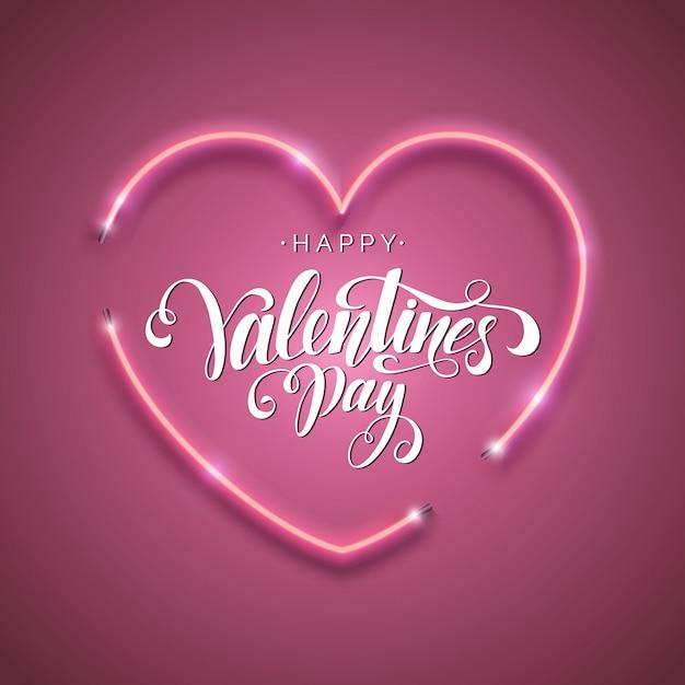 Iscrizione scritta dell'iscrizione felice di san valentino. Vettore Premium