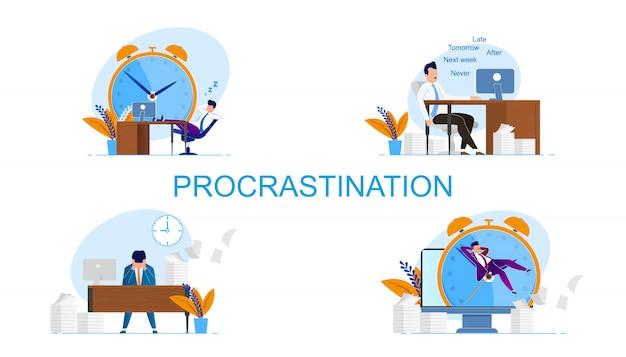 Iscrizione scritta imposta procrastinazione. l'uomo si sente colpevole a causa delle scadenze Vettore Premium