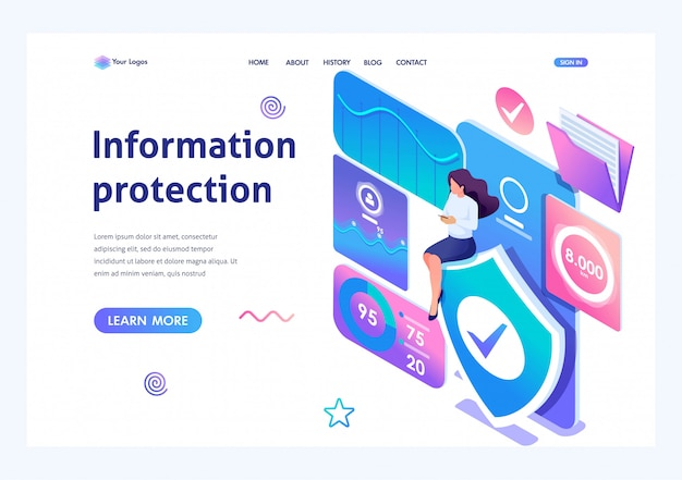 Isometric girl installa un'applicazione online per proteggere i dati sul telefono. Vettore Premium