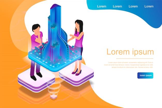Isometrica banner realtà aumentata per architetti Vettore Premium