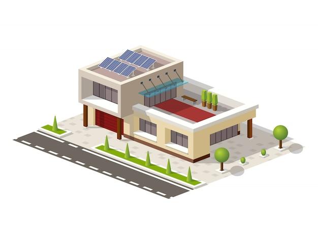 Isometrica casa high-tech con pannelli solari Vettore Premium