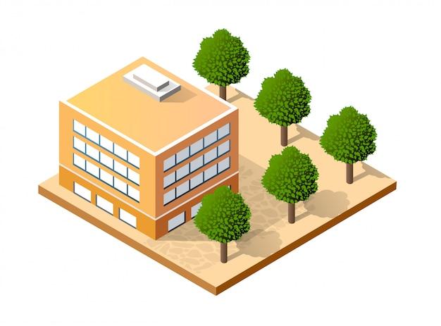Isometrica casa urbana Vettore Premium