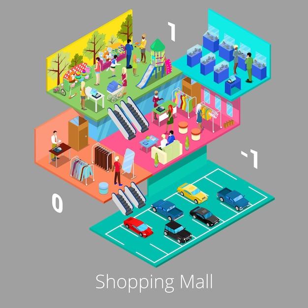 Isometrica centro commerciale interno con parcheggio piano boutique e negozio di abbigliamento. Vettore Premium